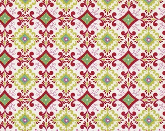 Love And Joy Christmas Holiday by Dena Fishbein Fabric 160 Red and Green Floral on White Geometric