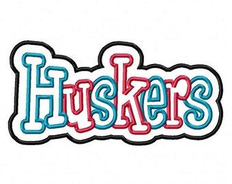 Huskers 2 color Embroidery Machine Double Applique Design 4043