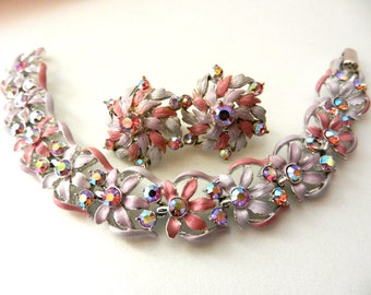 1950 Beautiful earrings & bracelet set - lilac and antique rose -bright  AB crystals -- Art.759/2-