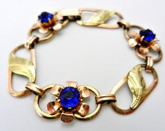 Authentic VAN DELL 1950 -Art Deco 12K Gold Filled Bracelet -beautiful flowers bright blue crystals--Art.772/2 -