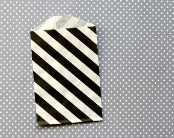 "SALE: Little Black Striped Paper Bags - Goody Bags - 2.75 x 4"" (20)"