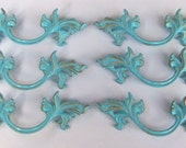 FREE SHIPPING 6 French Provincial Drawer Pulls Aqua Turquoise Blue  Shabby Distressed 5.75 Inches long 3 inch Centers