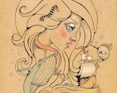 Surf Art Song for the Blue Ocean Original Art Giclee fine art print Books girl