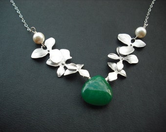 Sterling Silver Chain - double tripple orchid flowers with emerald greens mooth jade briolette - bridesmaids gift, wedding gift