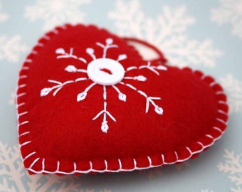 Felt Christmas Ornament, Handmade Scandinavian Heart, Snowflake ornament, red and white felt heart ornament, Handmade heart ornament.