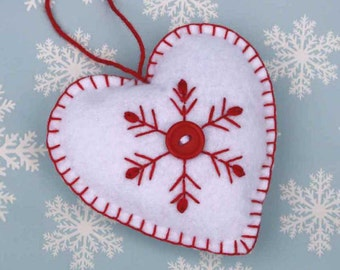 Felt Christmas Ornament, Handmade heart ornament, Red and white snowflake ornament, Scandinavian ornament, Heart Christmas ornament