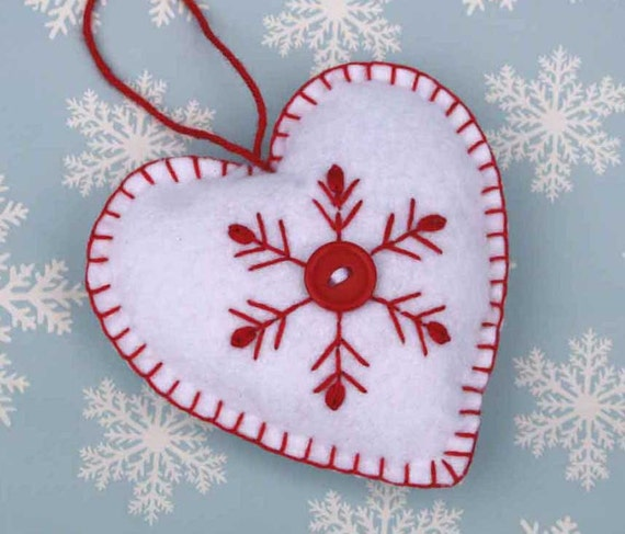 Ornament handmade heart ornament red and white snowflake ornament
