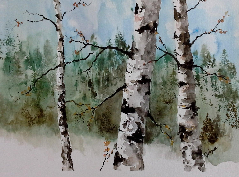 peinture bouleau arbre art de l 39 arbre bouleau aquarelle. Black Bedroom Furniture Sets. Home Design Ideas