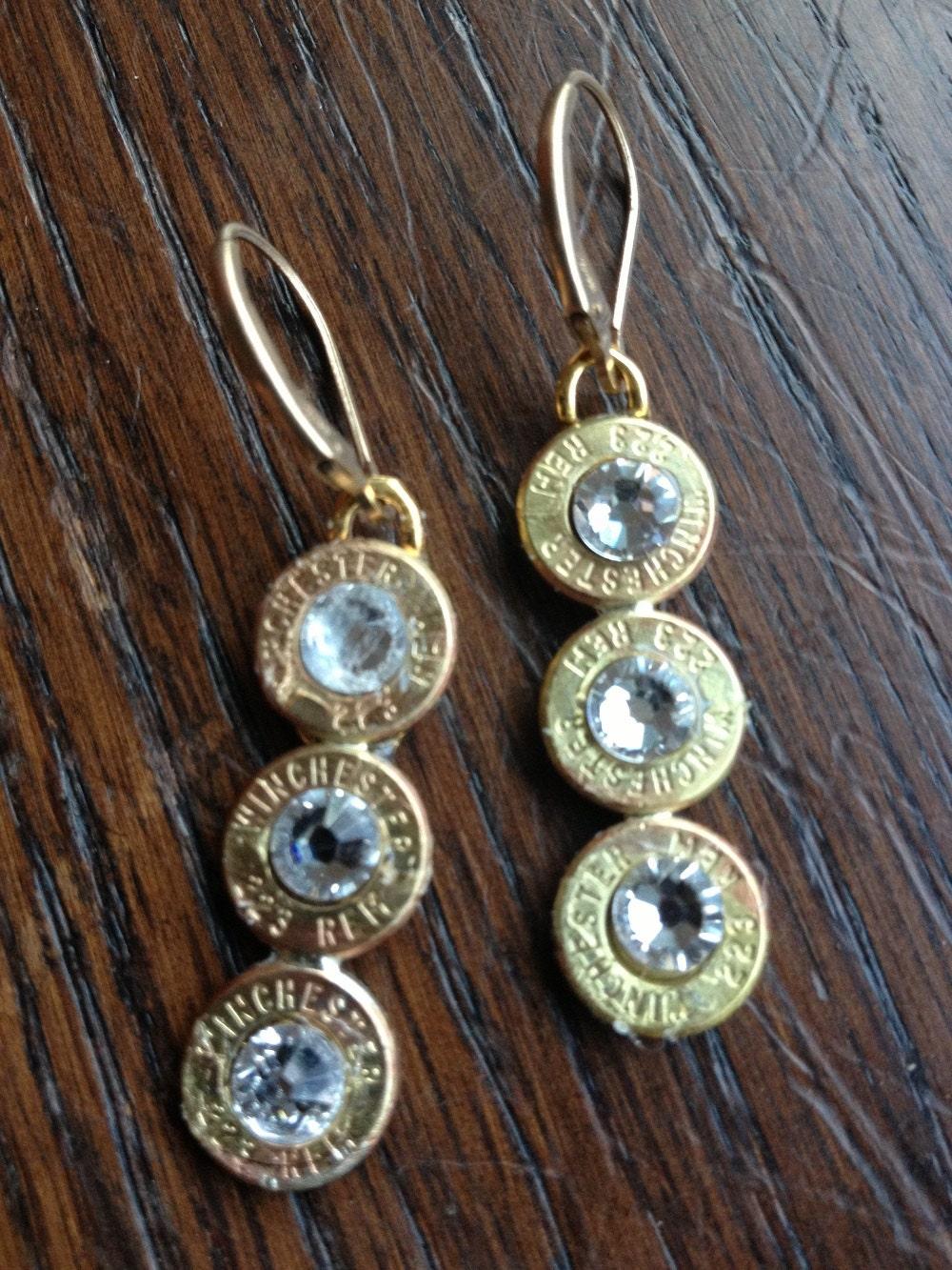 223 Winchester Case Triple Drop Earrings Bullet Jewelry