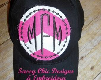Monogrammed Ladies Baseball Hat Circle Patch Applique Sports Mom Bridesmaid Collegiate Shabby Chic Bridal Party Bachlorette Party Sorority