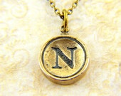 Letter N Necklace- Bronze Initial Typewriter Key Charm Necklace - Gwen Delicious Jewelry Design GDJ