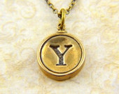 Letter Y Necklace - Bronze Initial Typewriter Key Charm Necklace - Gwen Delicious Jewelry Design GDJ