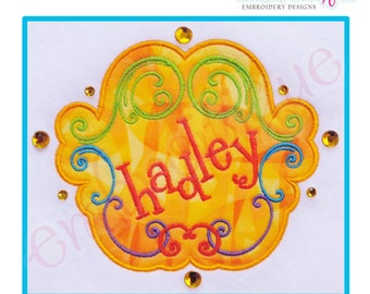 Hadley Applique Font Frame - Small- Instant Download -Digital Machine Embroidery Design