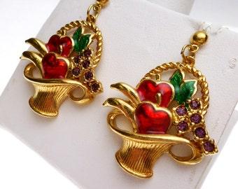 Avon Fruit Basket Enamel and Rhinestone Dangle Earrings