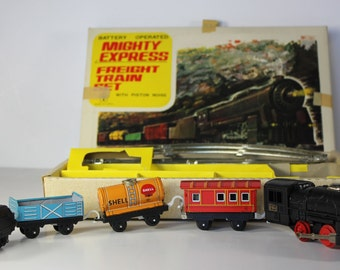 Vintage Made in Japan Yonezawa Battery Operated Tin Litho Mighty Express Freight Train Set with Box