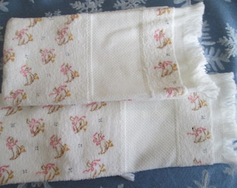 Fingertip Towels to Cross-Stitch, white aida insert, 3 patterns to choose from
