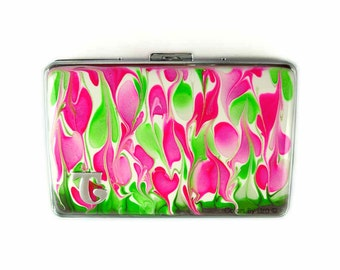 Metal Cigarette Case Hand Painted Enamel Fuchsia and  Lime Green and White Choose your Letter Custom Colors and Personalized Options