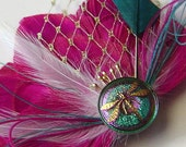 SALE PINK TOURMALINE Peacock Feather Bridal Hair Fascinator Clip with Czech Glass Dragonfly Button