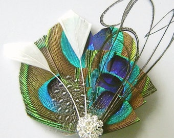 Peacock Hair Clip WISP of WHITE Tiered Peacock Feather Bridal Hair Fascinator Clip Wedding Party