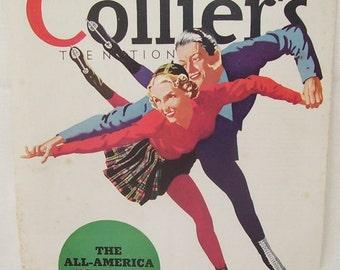 Man and Woman Ice Skating Ad 1937, The All American Team, Smooth Skating, Couple Skating, Magazine Print