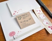 Stationery Writing Set - Red Blossom Tree - Letter Writing Paper with Matching Envelopes, Writing Guide and Envelope Seals