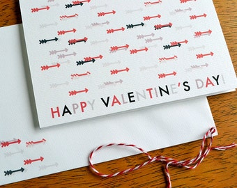 Valentine's Day Card - Red, Black and Grey Graphic Arrows