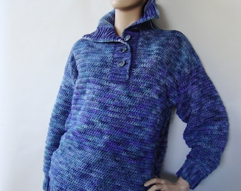 Merino Wool Sweater, Women's Sweaters, Winter Sweater, Crochet Sweater, Blue Sweater, Optional Funnel Neck, Gift for Her, Available in M