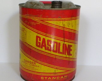 Vintage Industrial Metal Gas Can with spout -- Stan Can 5 Gallon Gasoline Can Made in USA Red and Yellow Graphics