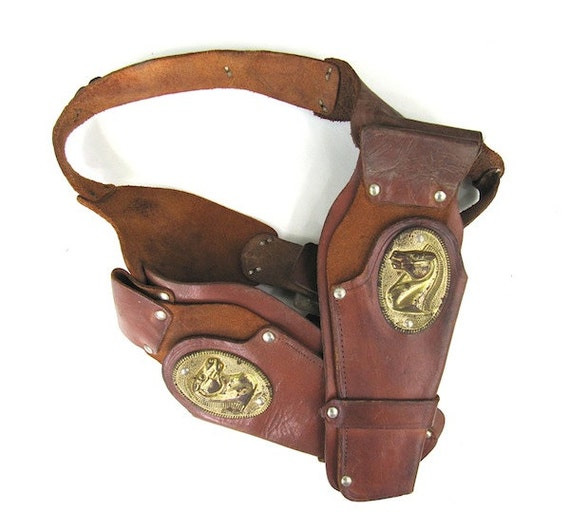 Toy Double Leather Holster for Bonanza Cap Gun