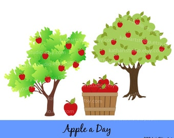 Instant Download - Apple Basket Apple Tree Clip Art - Personal and Commercial Use Apple a Day 90