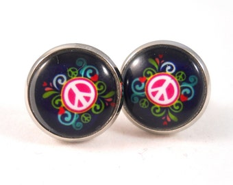 Peace Sign Earrings Pink and Blue Peace Sign Jewelry for ...