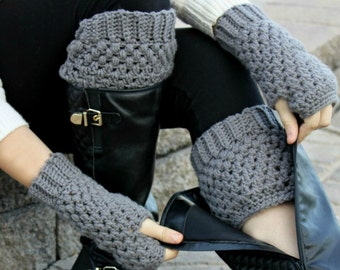 Boot Socks / Texting Mitts Combo - Dark Grey Crochet Boot Cuffs & Fingerless Gloves - Get a discount for buying the set