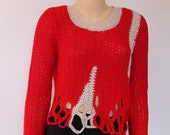 SALE 30% OFF Crochet Sweater, Red Off White Chunky  Long  Sleeved Sweater, Crochet Tunic, Knit Sweater, Size  L- XL