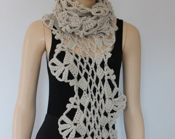 Crochet Scarf,Super Long Lace  Off White   Chunky Scarf, Winter Accessories, Women Knit Scarf, Ready to ship