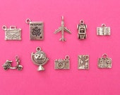 Have Suitcase Will Travel Collection - 10 different antique silver tone charms