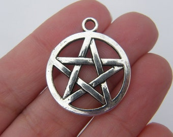 4  Pentagram charms antique silver tone HC82