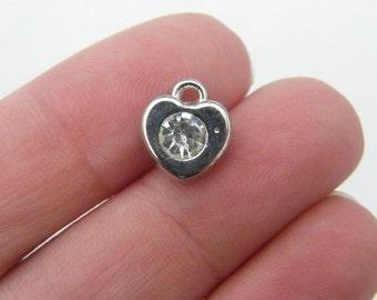 BULK 30 Heart with rhinestone charms antique silver tone H10