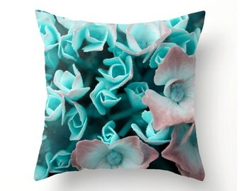 Turquoise and Pink Hydrangeas decorative throw pillow, home accessories, pillow cover, cushion cover, scatter cushions, home accents
