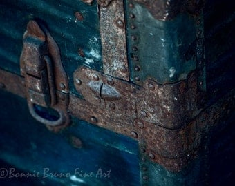 Photographic Print - Vintage Trunk With Rusty Clasps and Hinges - home decor wall art nostalgic steamer trunk wall decor