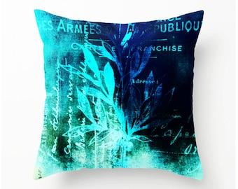 Botanical Blues decorative throw pillow, pillow covers, pillow cases, accent cushion, home decor, blue decor, sofa pillows
