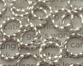 100pcs - 6x1mm - bright silver plated - twisted jump rings  - open jump rings