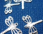50pcs - Bright silver plated  - small dragonfly charms -