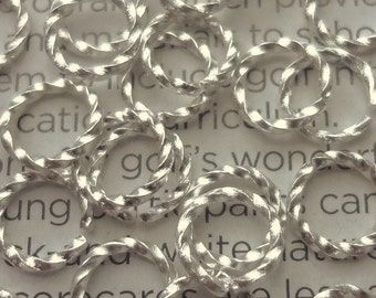 50pcs - 8mm - bright silver plated - twisted jump rings  - 16 gauge - open jump rings