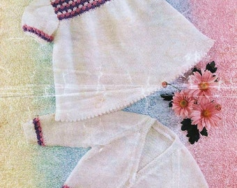 Baby Knitting PATTERN for Baby dress and matching Jacket/Cardigan/Sweater DOWNLOAD
