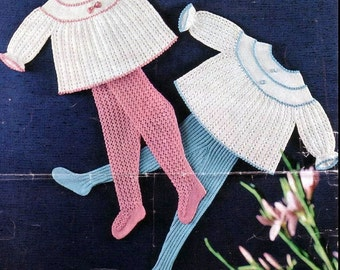 XMAS Baby Knitting Pattern - Baby's angel tops and matching hose/tights/leggings 2 sizes