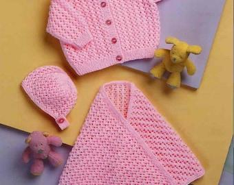 Baby Knitting PATTERN - Sweater/Cardigan, Bonnet and Shawl DK 12 - 22 inch