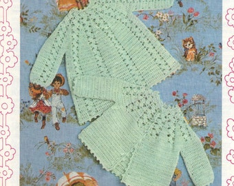 BABY CROCHET PATTERN -  Angel Top and Matinee coat/Sweater/Jacket - 20 ins