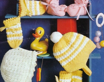 Crochet and Knitting PATTERN -Baby Booties/Bootees, Bonnets Helmet Mitts PDF 2071