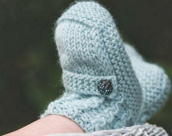 Baby Knitting PATTERN - Ugg Booties Pattern Cable cuff and strap - 3 - 6 months