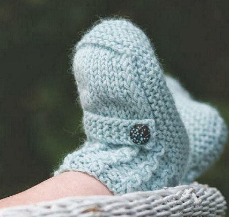 Baby Knitting PATTERN Ugg Booties Pattern Cable cuff and